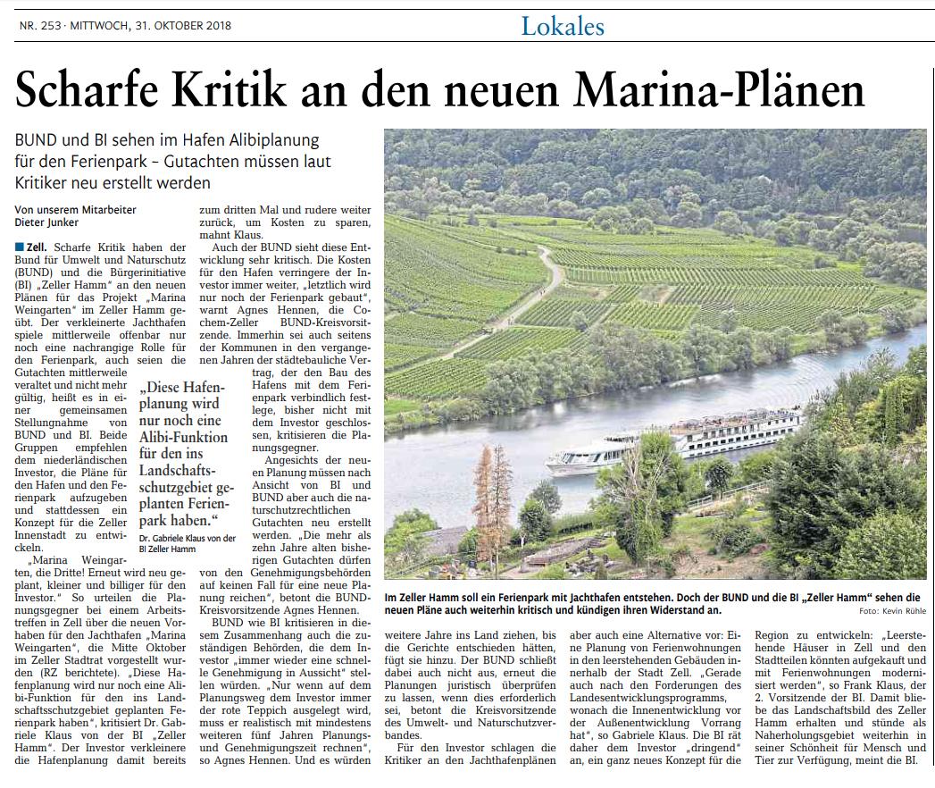 Marina Weingarten - Rhein Zeitung Bericht-31102018